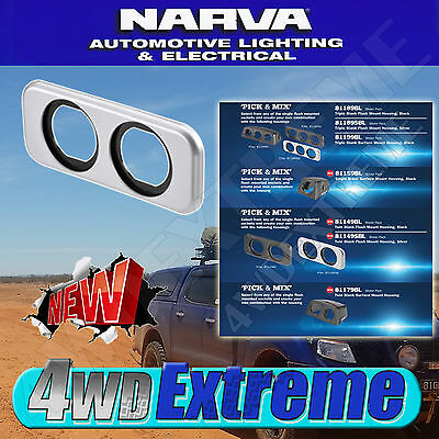 Narva Flush Mount Housing Twin Silver  Battery 4Wd Suit Narva  81149Sbl