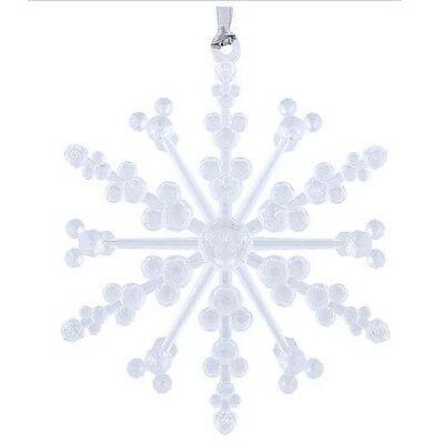 NEW Disney Parks - Snowflake with Mickey Ear Icons Ornament - Clear - Christmas