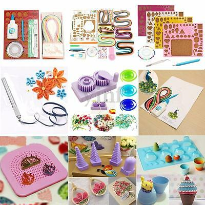 Starter Origami Quilling Paper Kit Template Needles Slotted Tool Workboard DIY