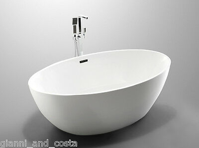 Bathroom Acrylic Free Standing Bath Tub Thin Edge 1750 x 1000 x 580 Freestanding