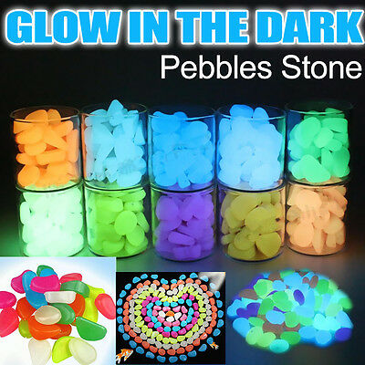 100x Glow in the Dark Pebbles Stone Shiny Home Garden Aquarium Fish Tank Decor