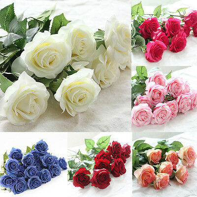 Hot lots 1/10/20 Head Real Touch Latex Rose Flowers For wedding Bouquet Decor