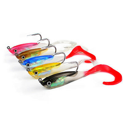 5/1Pcs Soft Silicone Lures Fishing Lure Bass Bait Tackle with Hooks 10cm/14.7g