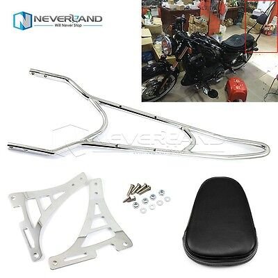 Chrome Sissy Bar Backrest Passenger Pad For 04-14 Harley Sportster 883 1200 XL