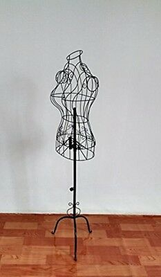 Black Mannequin Female Torso Steel Wire Dress Form Display -w/ Decorative Stand