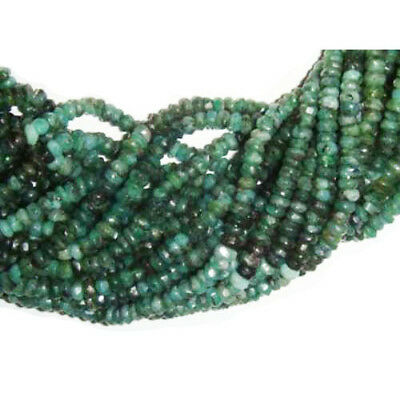 110+ Green Shaded Emerald Approx 3.5-4.5mm Handcut Faceted Rondelle Beads DW1770