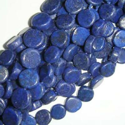 Strand Of 48+ Blue Lapis Lazuli Approx 6-7mm Handcut Coin Beads DW1270