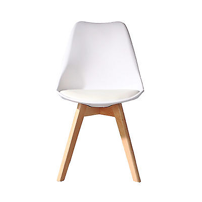 WHITE Jamie Dining Chair NATURAL Wooden Retro Designer Soft Pad Faux Leather