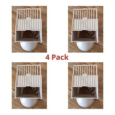 4 x PLASTIC NEST PAN HANGS ON OUTSIDE OF CAGE IDEAL FOR CANARIES FINCHES BIRDS