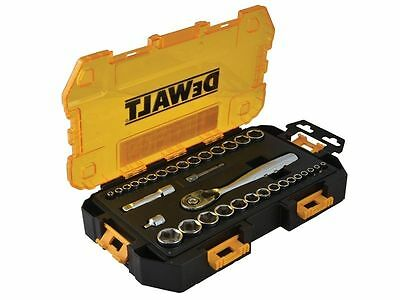 "Dewalt 34Pc 1/4"" 3/8"" Tough Sae Af Metric Drive Ratchet Socket Set Dwmt73804"