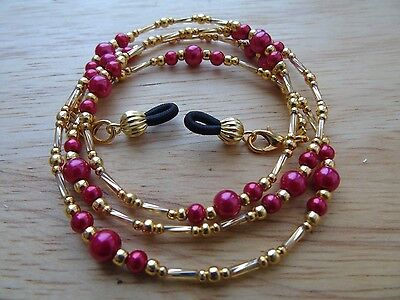 Beaded Red Gold Coloured Spectacle  Glasses Chain Lanyard Necklace.