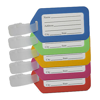 Colourful Luggage ID Tags for Suitcase / Bag / Travel with Name + Address Label