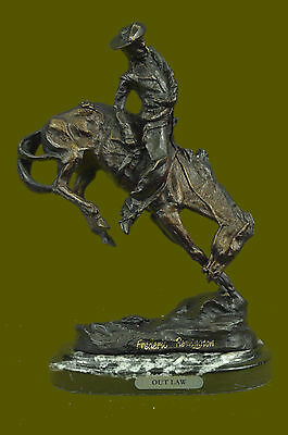 """Great BRONZE SCULPTURE """"OUTLAW"""" by Frederic Remington Real size 10.5""""x9"""" ART"""