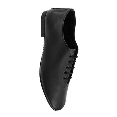 Starlite Basic Black Rubber Sole Jazz Shoes - Leather Upper