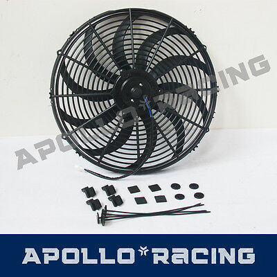 """16"""" 16 Inch 12v Electirc Radiator Cooling Thermo Fan & Mounting Kit New"""