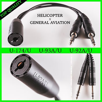 Helicopter to General Aviation Headset Adapter Cable - David Clark AVCOMM, U 174