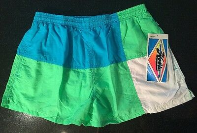 M/L VINTAGE 80s NWT Sticker Label HOBIE Surf Short SWIM Suit NEON Green BLUE USA