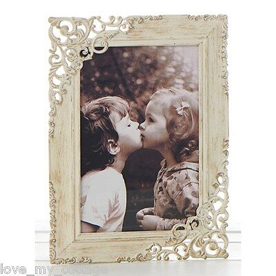 Vintage Shabby Chic Old Cream Lace Metal Photo Frame Picture Wedding Gift 5 x 7