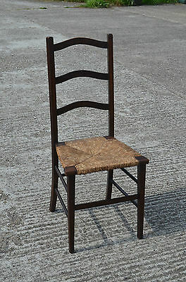 Vintage High Back Oak Chair Rush Seats Occasional Bedroom Student