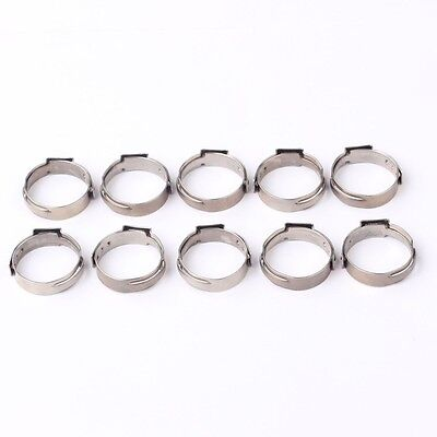 10PCS 1/2 PEX 17.5mm Stainless Steel Clamp Cinch Rings Crimp Pinch Fitting