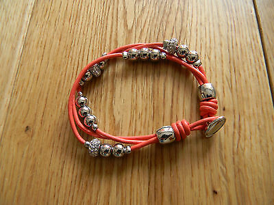 Fossil Rondel Leather Wrap Bracelet with Metallic Beads