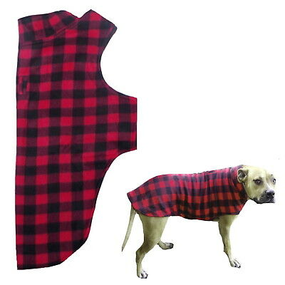 Large Dog Coat Red Check Fleece 2XL 3XL 4XL - Pet Winter Jacket Clothes Staffy