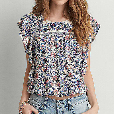 e340f7b74134d American Eagle Outfitters AEO Woman Flutter Sleeve Floral Bubble Blouse Top