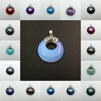 Natural Gemstone Crystal Round Donut Circle Reiki Chakra Fashion Bead Pendant