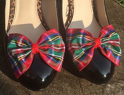 Plaid Shoe Clips 4 Shoes Royal Stewart Tartan Bows for Shoes Pinup Rockabilly