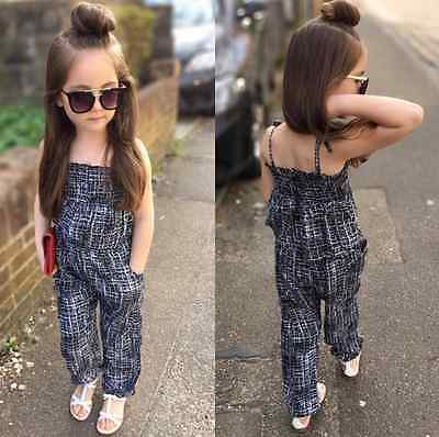 NEW Kids Baby Girls Retro Backless Overalls Romper Jumpsuit Playsuit Outfit 2-7T
