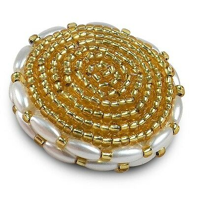 Beaded Button With Pearls