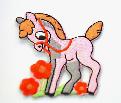 PINK PONY HORSE RED BRIDLE  Embroidered Sew Iron On Cloth Patch Badge APPLIQUE