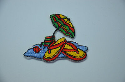 TROPICAL BEACH SANDALS ISLAND Embroidered Sew Iron On Cloth Patch Badge APPLIQUE