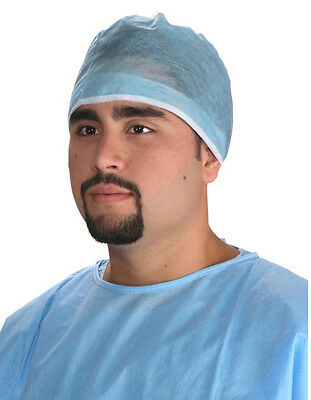 100 Doctor Cap Surgeon Surgical Dental Scrub Cap Hat Blue Adjustable Disposable