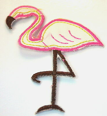 PINK FLAMINGO  Embroidered Sew Iron On Cloth Patch Badge APPLIQUE