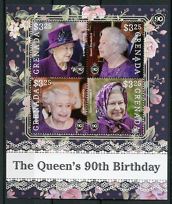 Grenada 2016 MNH Queen Elizabeth II 90th Birthday Anniv 4v M/S Royalty Stamps
