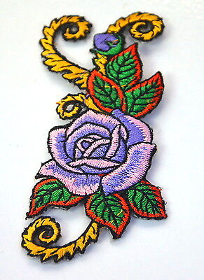 PURPLE ROSE TATTOO BARGE   Embroidered Iron Sew On Cloth Patch Badge APPLIQUE