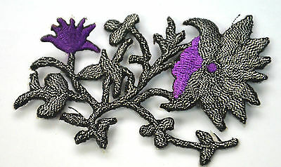 SILVER PURPLE FLOWERS SEWING Embroidered Iron Sew On Cloth Patch Badge  APPLIQUE
