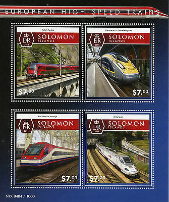 Solomon Islands 2015 MNH European High-Speed Trains 4v M/S Railways Eurostar