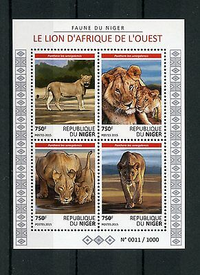 Niger 2015 MNH West African Lion 4v M/S Fauna Wild Animals Big Cats Lions Stamps