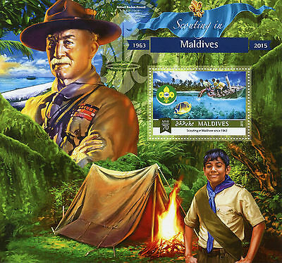 Maldives 2015 MNH Scouting 1v S/S Boy Scouts Lord Robert Baden-Powell Stamps