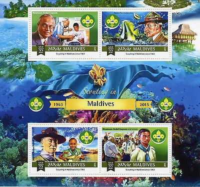Maldives 2015 MNH Scouting 4v M/S Boy Scouts Lord Robert Baden-Powell Stamps