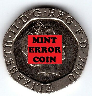 2010 20P COIN RARE SHIELD * ERROR MULE * TWENTY PENCE Face Ghosting and Blob (a)