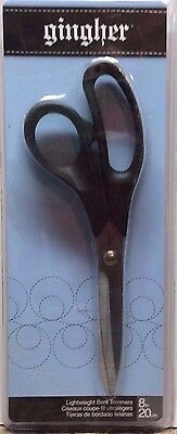 """Gingher 8"""" Lightweight Bent Sewing Scissors with Stainless Steel Blades NIP"""