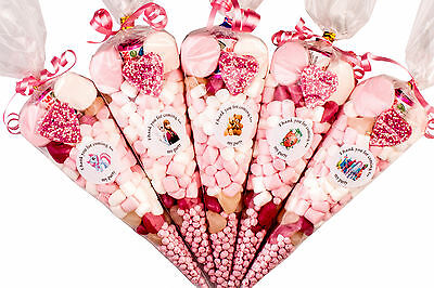 Girls Pre filled Kids Childrens Sweet party cones Themed Bags Free Postage