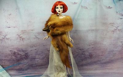 ~Vintage Red Mink Fur Pelt Stole Wrap for Evangeline Ghastly doll~by dimitha~