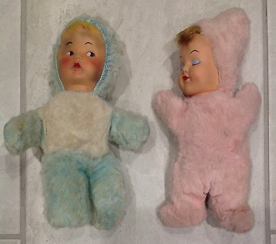 """Lot of 2 Vintage Plush Baby Dolls Rubber Faces 9 1/2"""""""