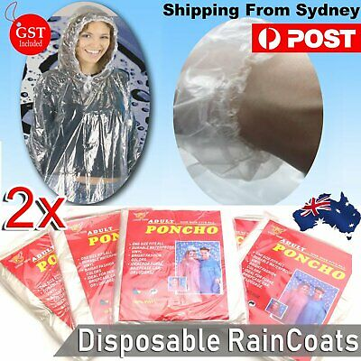 2x Disposable Ponchos Emergency Rain Coats Adult Raincoat Poncho Camping Hiking