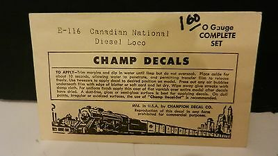 Champ O Scale Decal Set #E-116 Canadian National Diesel