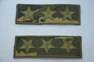 2pc ARMY MILITARY CAMO 3 STAR Embroidered Iron Sew On Cloth Patch Badge APPLIQUE